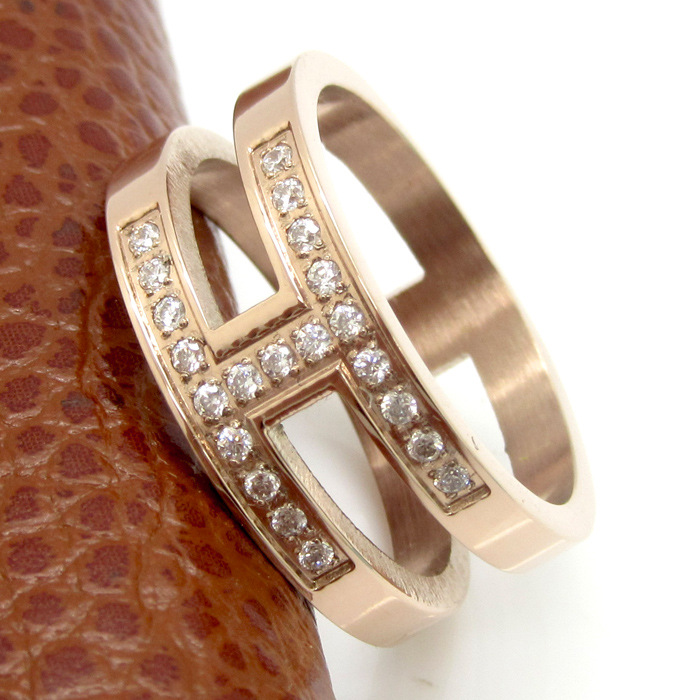 18k Gold Plated Bridal H Shape Zircon Ring