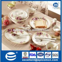 128pcs Luxury new bone china dinner set for 18 people of dream wedding, direct buy China