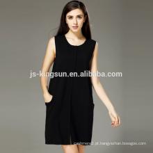 venda quente 2017 novo conciso design estilo europeu de lã de lã merino vestido de camisola feminina