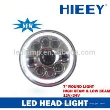 """DOT certificado 7 """"rodada LED de feixe de alta e baixa luz de cabeça faróis faróis cabeça"""