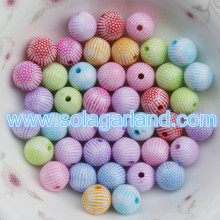 8MM 10MM 12MM Acrylic Plastic Round Striped Gumball Beads