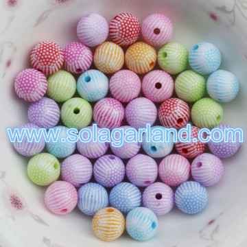 8MM 10MM 12MM plastique acrylique rayé Gumball perle ronde