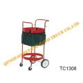 Carro de herramientas de Metal rojo, equipamiento de jardín