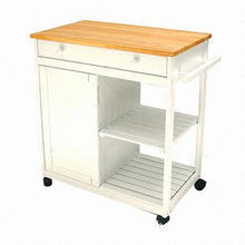 Kitchen carts, solid rubber wood, antique white NC finish