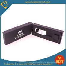 Chaîne porte-clés en cuir véritable de logo de la publicité faite sur commande en gros de haute qualité avec la boîte élagante