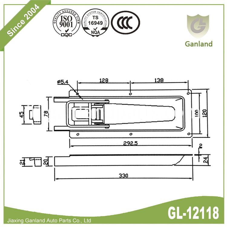 Steel Pickup Lock Specification GL-12118T4