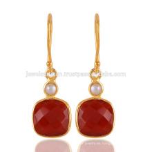 Onyx rojo y perla 18K oro amarillo Vermeil 925 joyería de plata de la boda de plata