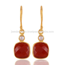 Red Onyx & Pearl 18K Yellow Gold Vermeil 925 Sterling Silver Wedding Jewelry
