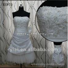 RSW70 2012 Real Sample Short Tulle Skirt Vestido de casamento de tafetá