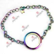 Rainbow Plain rodada Locket pulseira para crianças Jewellry (LB-201)