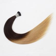 Precio al por mayor sedoso recto i-tip extensión del pelo virgen me tiro extensión del pelo brasileño