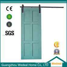 Porte coulissante en bois MDF à six panneaux