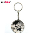 Customize hard enamel halloween metal sword handcuffs skull hard hat keychains