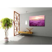 Impresiones promocionales de la lavanda en lona, pintura de la lona de la flor, paisaje de la puesta del sol