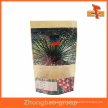 Biodegradable Laminated Clear Window Kraft Paper Bag For Emirates Date Package
