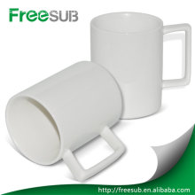New wholesale ceramic blank square shape handle mug sublimation