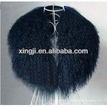 col en fourrure d'agneau tibétain de couleur noire