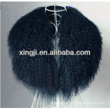 dyed black color Tibet lamb fur collar