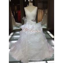 Тонкий глубокий V-образным вырезом оборками сексуальный Кристалл Талия Стиль цветок свадебные платья Алибаба