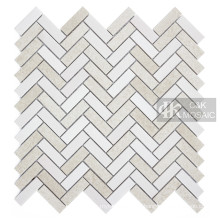 Herringbone Glass Mosaic Tile Backsplash Beige Tile