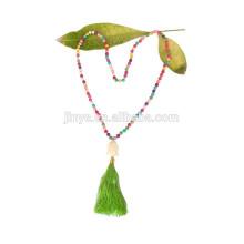 Noeud à la main Long Turquoise perles collier Boho bijoux