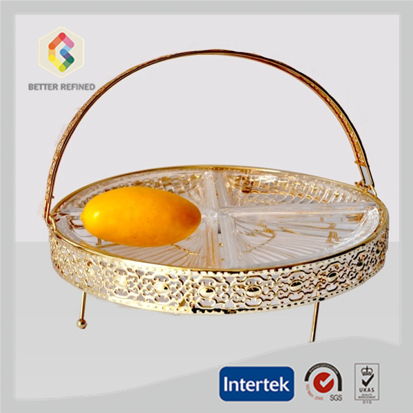 fruit glass plate with Gold metal handle