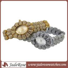 Hot Bling Bling Kristall verziert Frauen Gold Watch