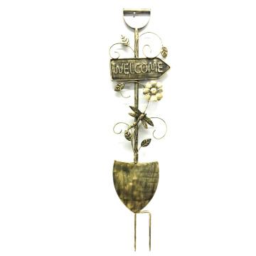 """Nützliche Gartendekoration Bronze Finish """"Welcome"""" Schaufel Metall Stake Handwerk"""