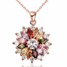 Comércio Exterior Moda Cascading of Flowers Colorful Zircon Charm Pendant Necklace