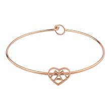 Wholesale Trending Custom Rose Gold Stainless Steel Wire Knot Bangle Heart Charm Bracelet
