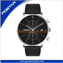 Black Dial Chronograph Watch with Genuine Leather Band