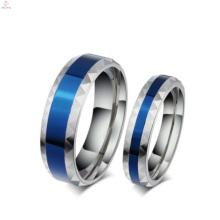 Anneaux romantiques de couple bleu, les derniers à faire des conceptions de bague de doigt de bijoux de mode