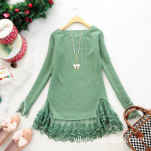 Ladies Fashion Acrylic Knitted Lovely Short Skirt with Lace Hem