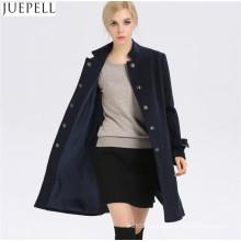 Las nuevas mujeres de otoño e invierno abrigo de lana mujeres cortavientos y largas secciones de cuello de lana delgado abrigo de mujer