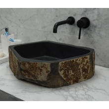 Hexagonal black granite sink