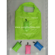 Custom Logo Polyester Folding Tote Bag W/ Pouch