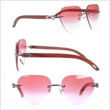 Braços de madeira / Forma do coração / Óculos cor rosa da lente