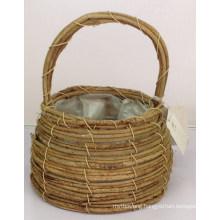 Festive rattan hand flower basket