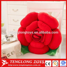 Beautiful women gift plush red rose shaped pillow for sale