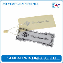 Sencai custom fashion elegant clothing label plastic hang tag