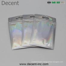 Aluminum Foil Shiny Holographic Ziplock Bag/Holographic Packaging Bag/ Zipper Makeup Mylar Bags