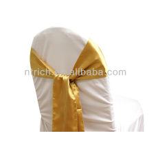 oro, marco de la silla del satén lujo vogue corbata, pajarita, nudo, cubiertas de la silla baratos boda y fajas para la venta