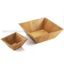 2PCS fijaron el cuenco de bambú de la ensalada de la forma cuadrada (SE062)