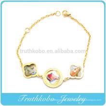 TKB-B0091 Medalla de los santos de acero inoxidable 18 imágenes en color de Jesús, pulsera de María
