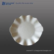 Цветочные формы Чистая белая деликатесная тарелка для ресторанов