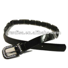 women's PU belt with black PU, clear rhinestones, alloy accessoris with gun-metal