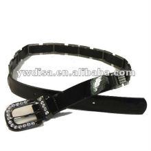 Mulheres PU cinto com PU preto, rhinestones claro, accessoris liga com gun-metal