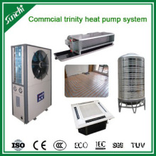 Hot water heat pump with heating and cooling system for hotel use