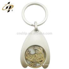 Llavero de plata de encargo del metal de la aleación del cinc del artículo a granel con el gancho
