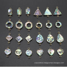 Double Hole Connector Abalone Shell Shape Pendant DIY Earring Bracelet Necklace Jewelry Making Accessories